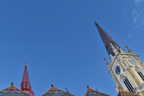 church tower, roof, church, construction, tower, architecture, old, building, city, religion