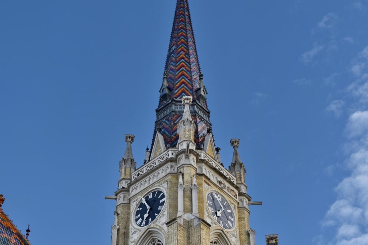забележителност, покриващи, архитектура, сграда, катедрала, часовник, кула, стар, Готически, град