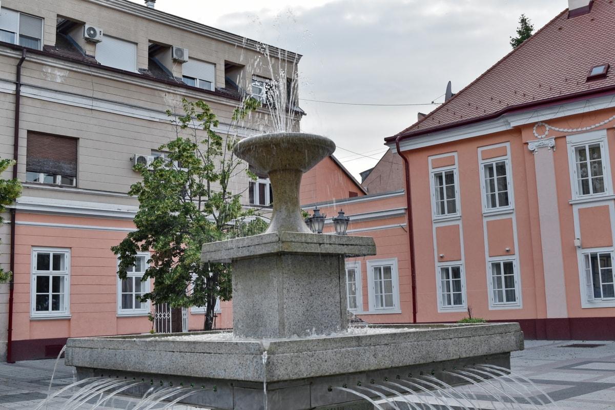 Innenstadt, Fassade, Brunnen, Stadtregion, Villa, Haus, Erstellen von, Architektur, Haus, Stadt