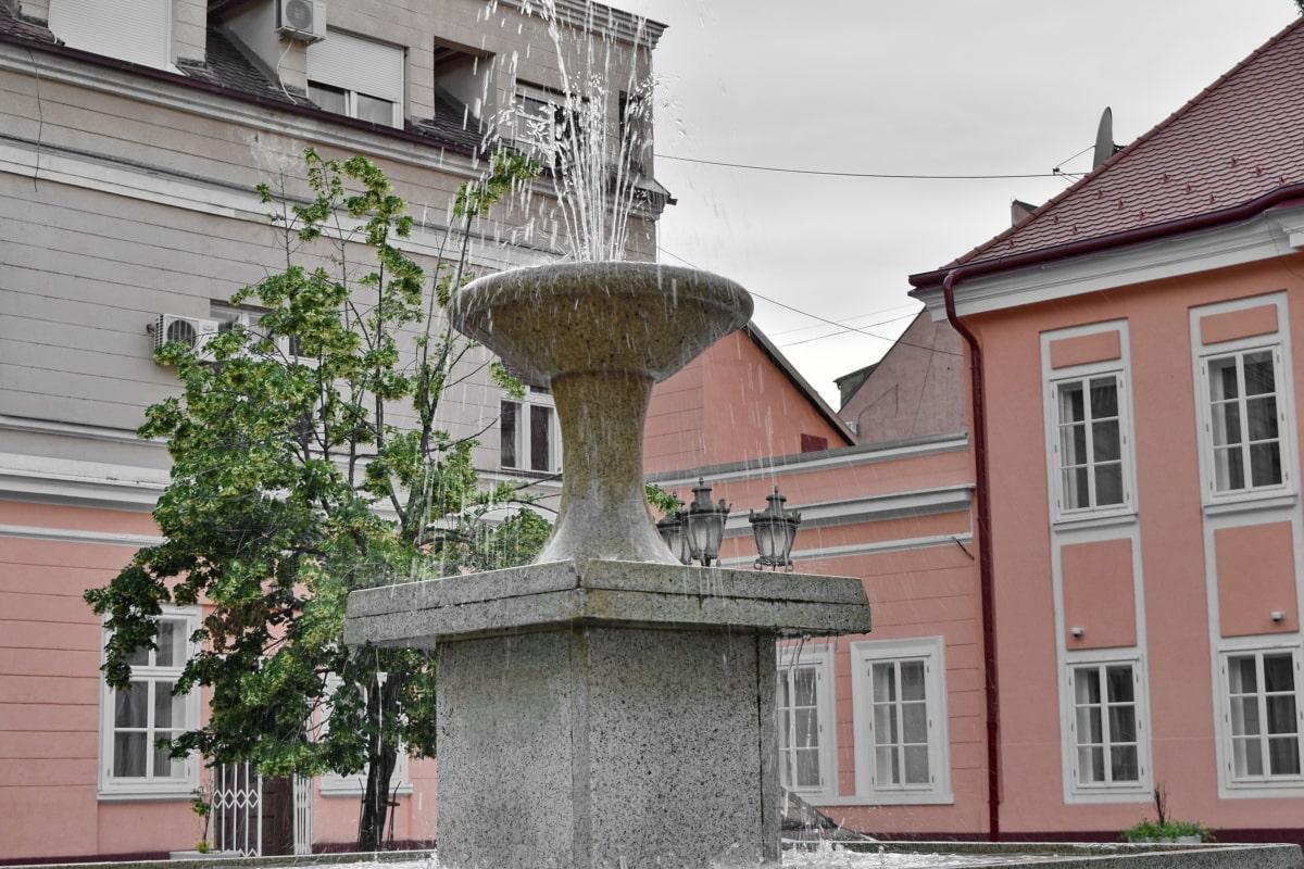 centro da cidade, fonte, rua, atração turística, edifício, estrutura, arquitetura, casa, Casa, janela