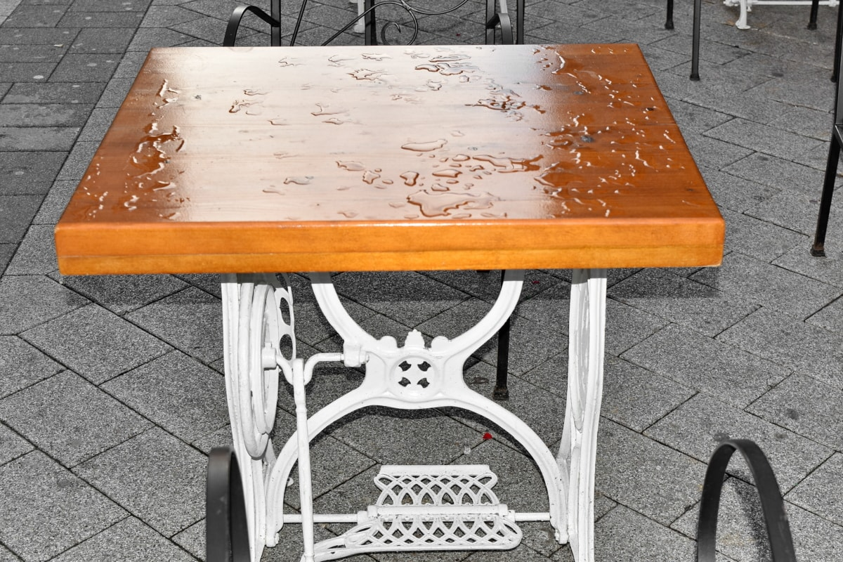 furniture, rain, street, chair, seat, wood, design, table, old, wooden