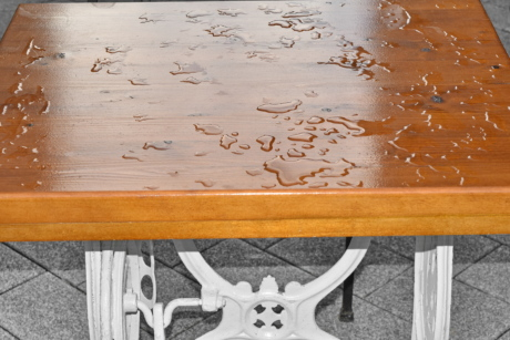 rain, wet, wood, empty, furniture, wooden, dirty, interior design, old, board