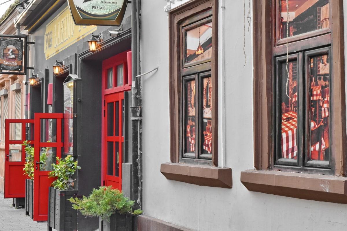 ショップ, 構築, 敷居, ドア, アーキテクチャ, アウトドア, 通り, 伝統的です, 家, ファサード