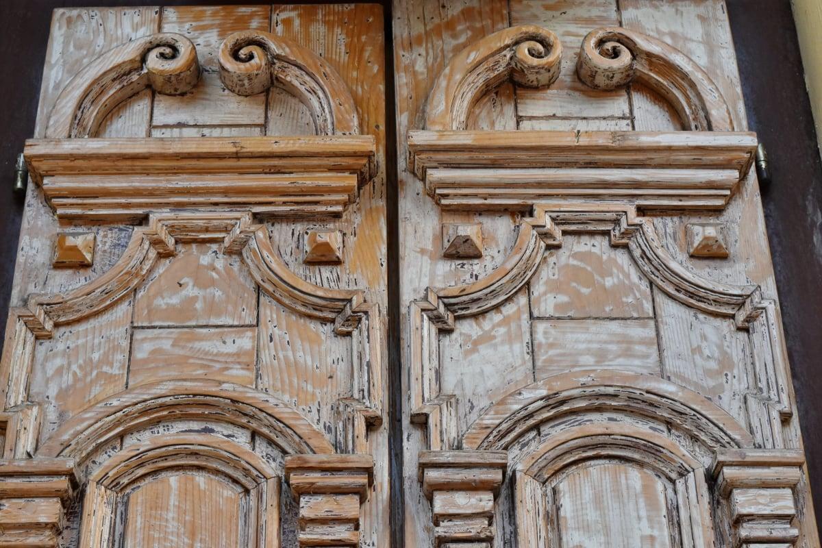 carpenteria, porta d'ingresso, rilievo, facciata, porta, architettura, creazione di, Gotico, vecchio, cancello