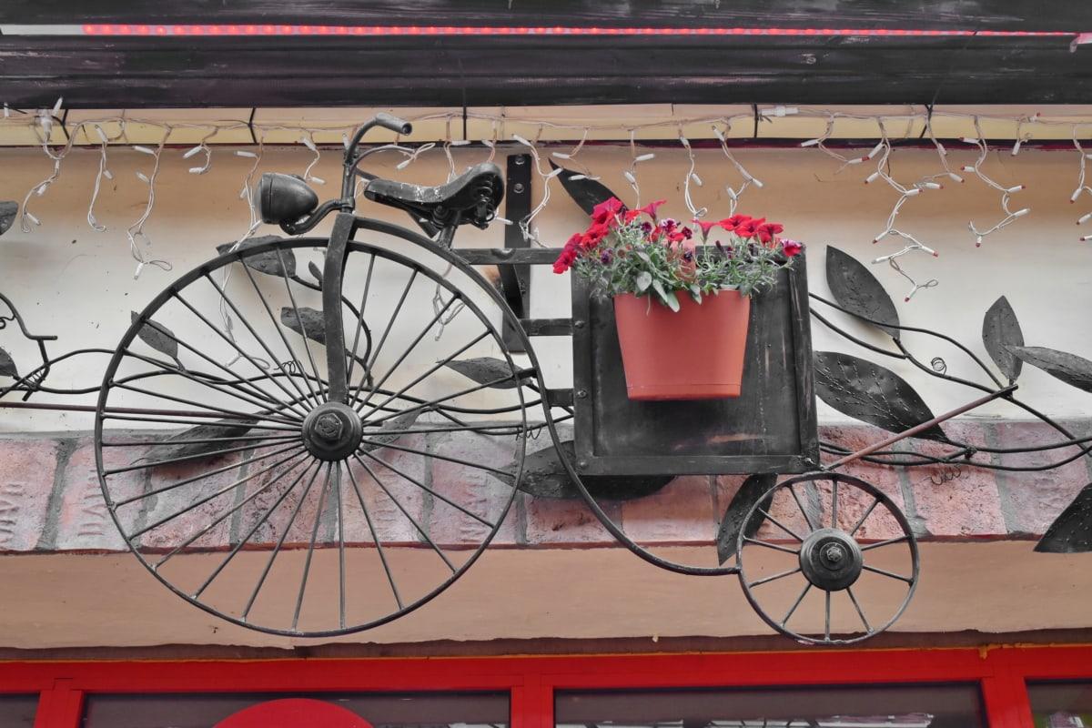 ファサード, スティル ・ ライフ, ホイール, キャリッジ, 三輪車, 通り, ヴィンテージ, 古い, 自転車, 都市