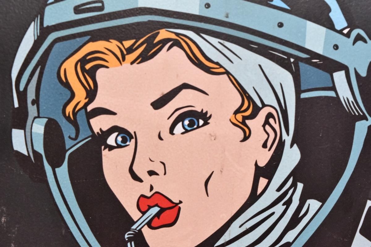 лицето, графичен, маркетинг, хубаво момиче, изкуство, илюстрация, жена, портрет, ретро, музика