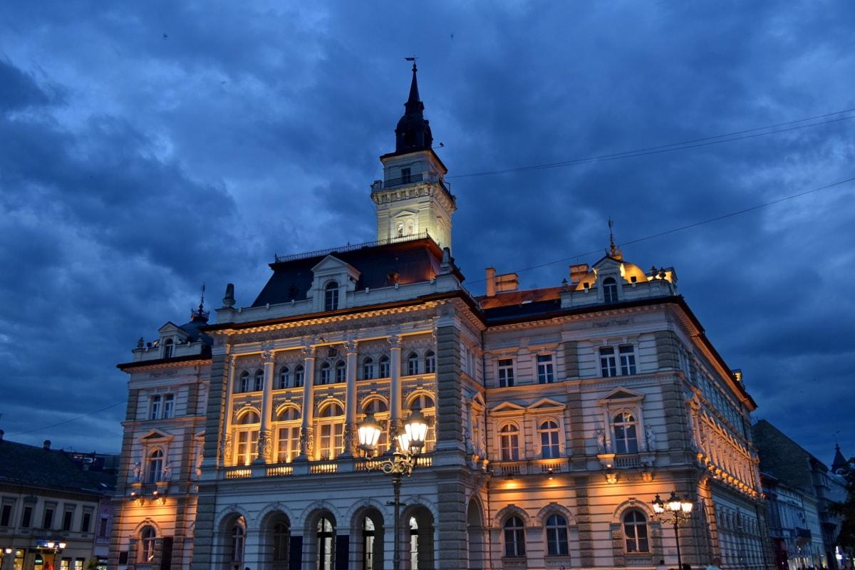Primăria, fatada, noapte, arhitectura, clădire, oraș, Palatul, în aer liber, vechi, strada