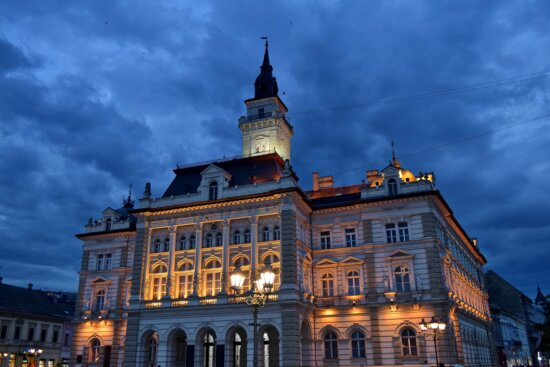 city hall, facade, night, architecture, building, city, palace, outdoors, old, street