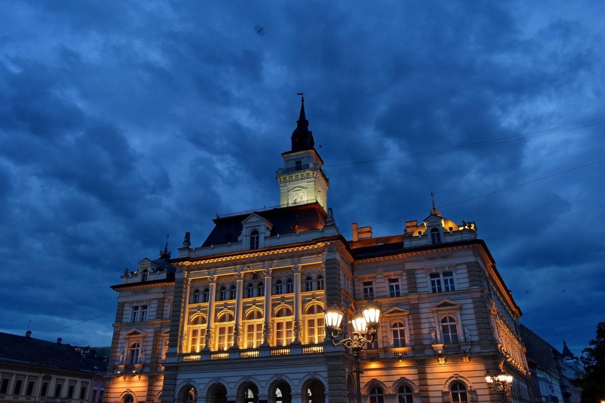 fasade, opplyst, natt, gate, turistattraksjon, bygge, byen, Palace, arkitektur, katedralen
