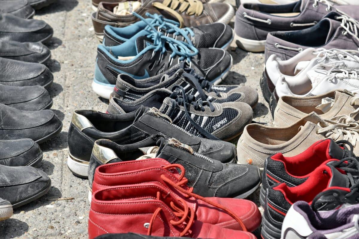 dvojica, topánky, obuv, tenisky, kožené, Čistenie, móda, Nakupovanie, priemysel, pouličné