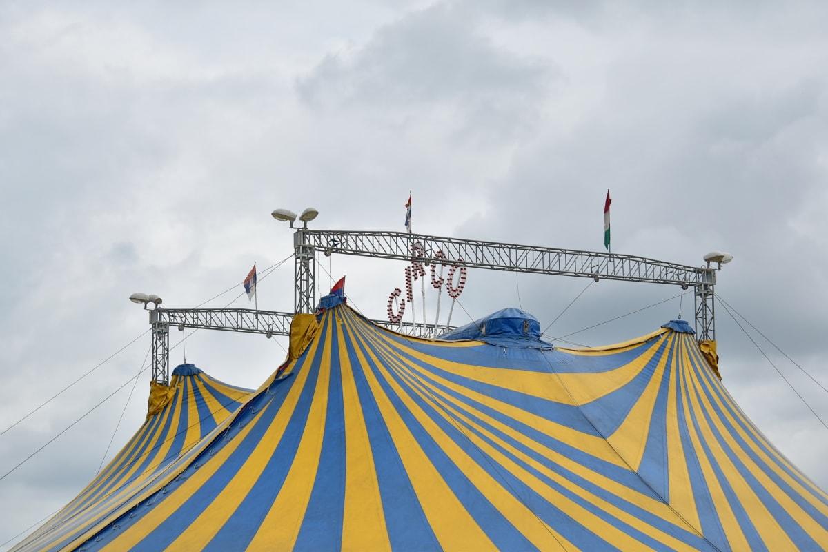 stan, Cirkus, festival, venku, lano, krajina, vlajka, Barva, modrá obloha, město
