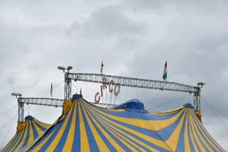 tent, circus, festival, summer, landscape, flag, outdoors, rope, color, wind