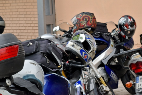 motorcycle, parking lot, vehicle, motorbike, street, ride, competition, helicopter, wheel, vintage