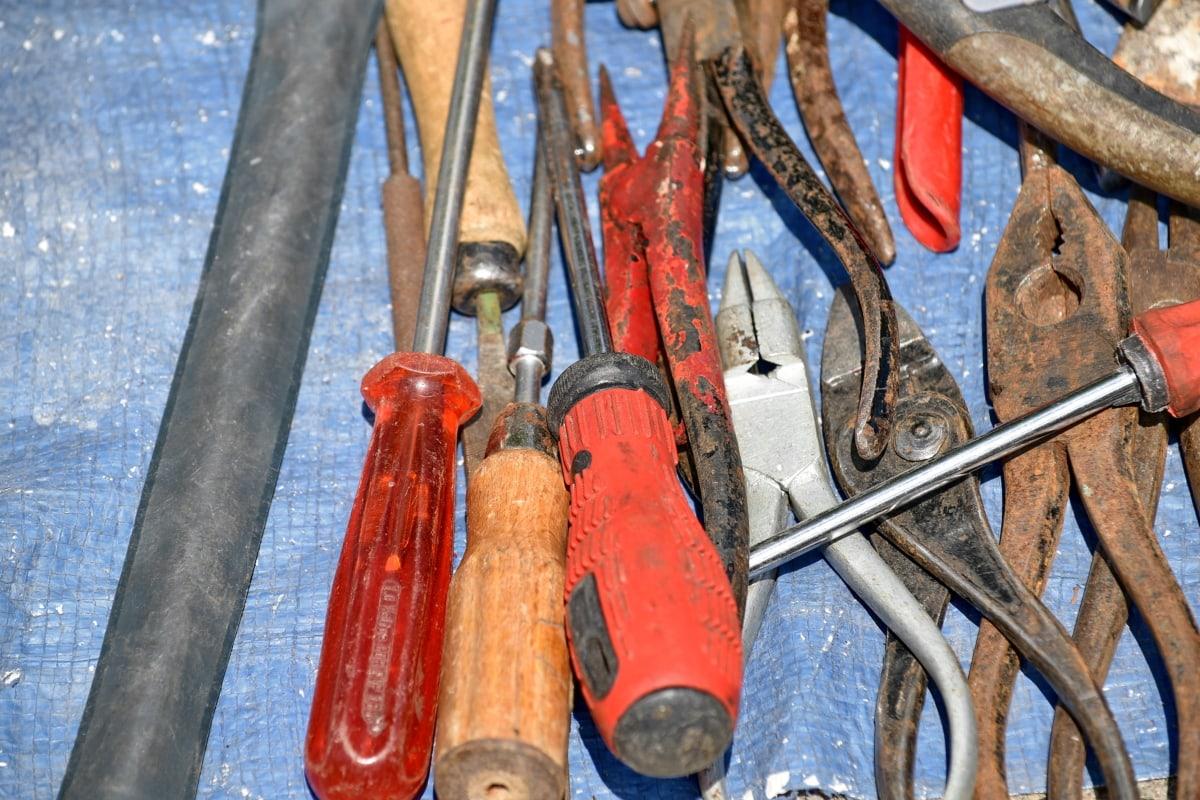 čekić, kliješta, odvijač, Francuski ključ, čelik, industrija, alat, željezo, oprema, stari