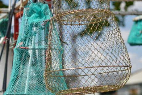 cage, fishing gear, metal, object, tool, wires, web, fishnet, rope, outdoors