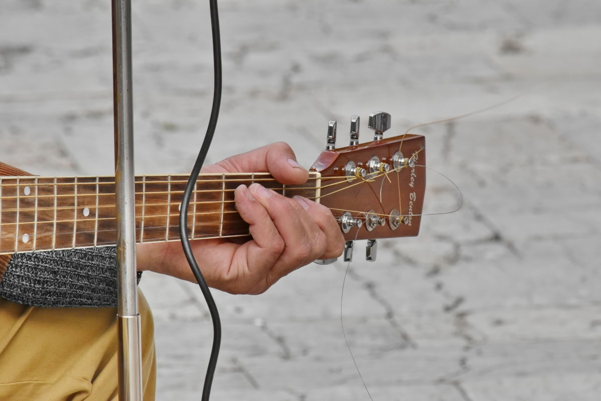 концерт, китарист, музикант, музика, китара, устройство, инструмент, дървен материал, звук, на открито