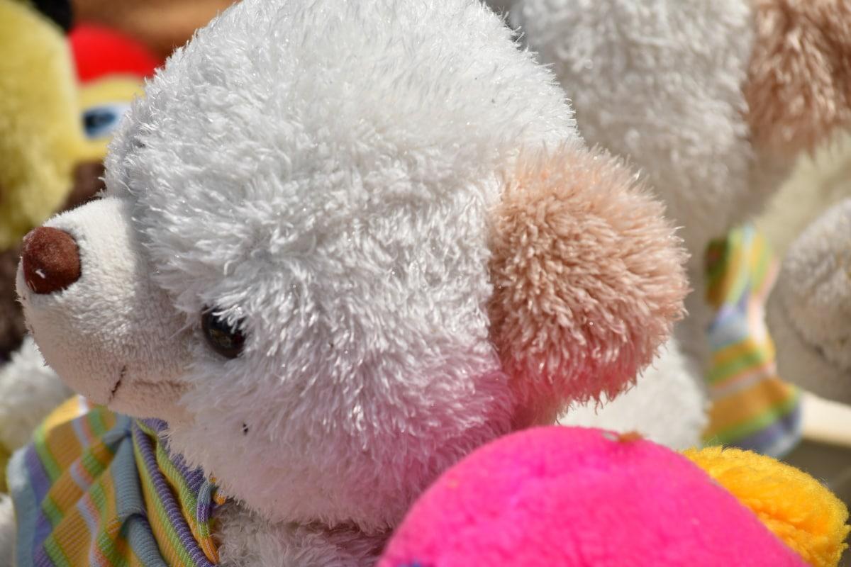 bamse leketøy, hvit, leketøy, søt, plysj, morsom, ull, moro, tradisjonelle, Bjørn