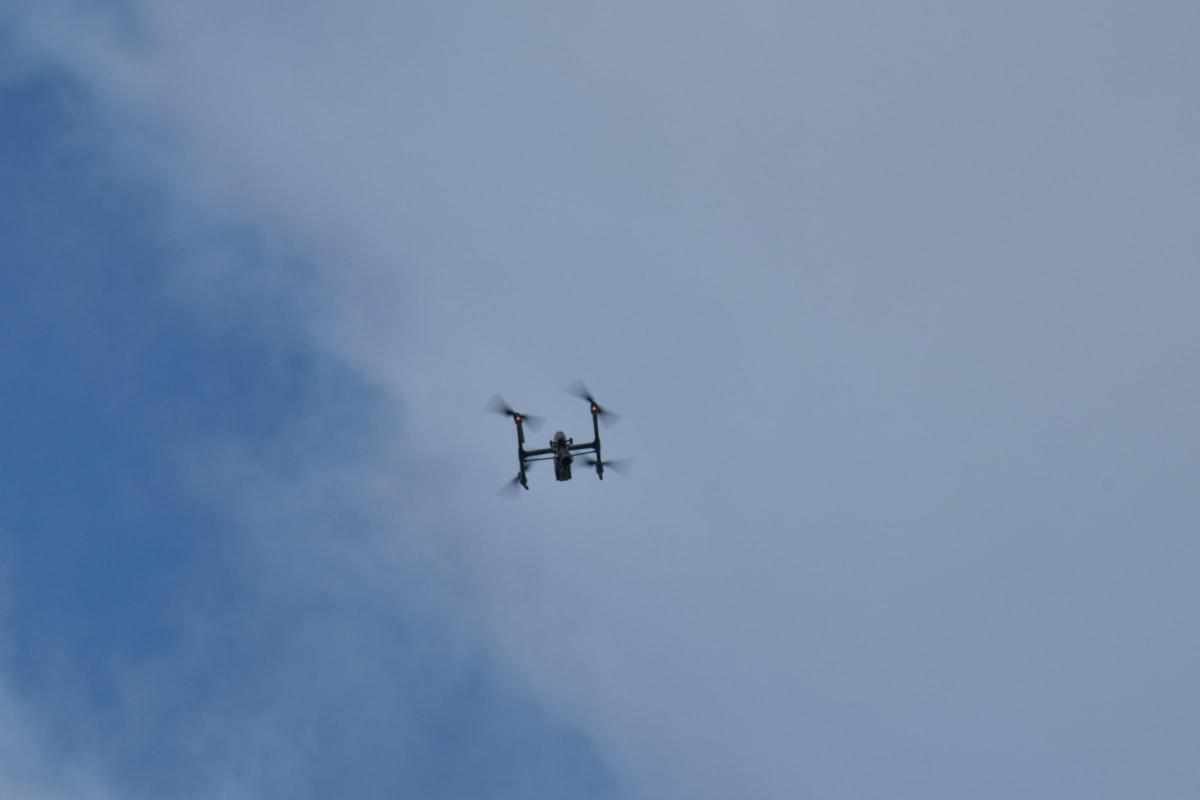 modrá obloha, dron, lietanie, vrtule, Technológia, Let, jet, rýchle, akrobaciu, Akcia