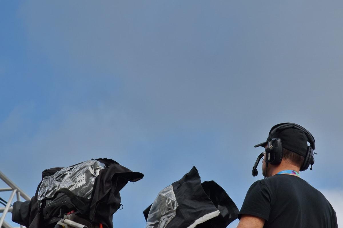 homem, microfone, televisão, Notícias de televisão, gravação de vídeo, aventura, ao ar livre, ao ar livre, pessoa, nuvem