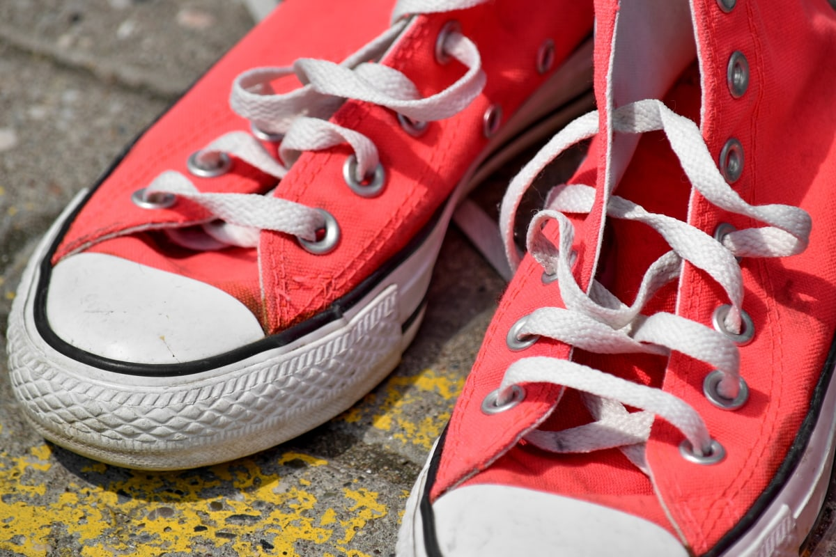 asfalt, rosa, shoelace, joggesko, mote, fottøy, klassisk, farge, rekreasjon, utstyr