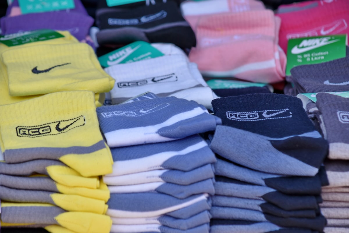 市场, 袜子, 袜子, 棉, 堆栈, 时尚, 购物, 商品, 业务, 行业