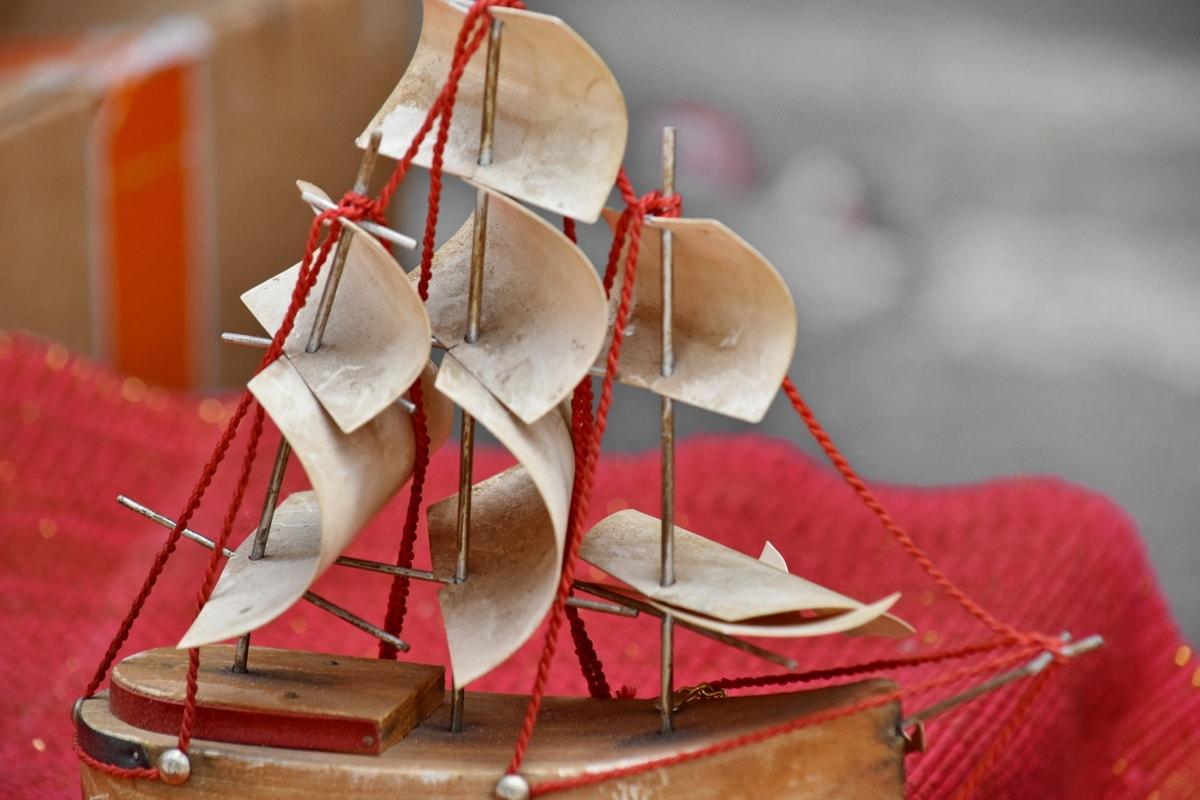 výletní loď, ručně vyráběné, plachetnice, loď, dřevo, tradiční, lano, zátiší, dekorace, předsazení