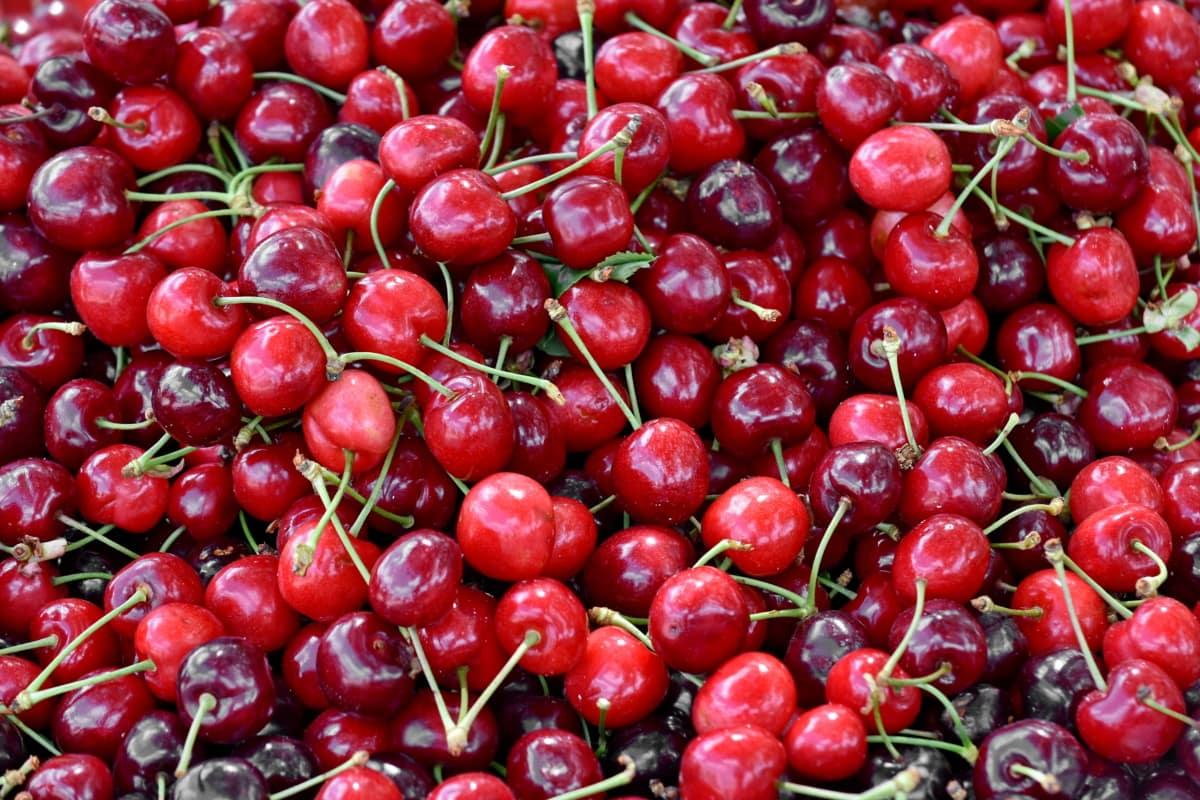 πολλά, επιδόρπιο, νόστιμα, φρούτα, κεράσια, Γλυκό, τροφίμων, κεράσι, υγιεινή, υγεία