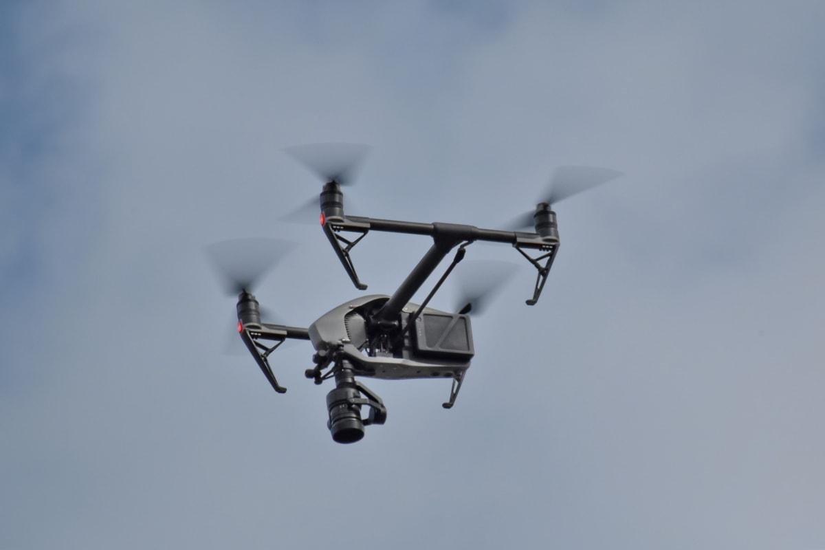 dron, futuristički, propeler, tehnologija, uređaj, rotora, leti, vjetar, akcija, let