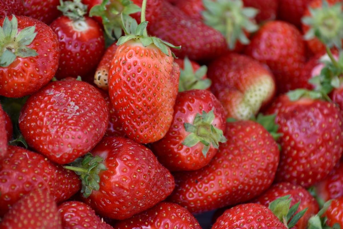 สุขภาพ, สตรอเบอร์รี่, ผลไม้, อร่อย, อาหาร, เบอร์รี่, สตรอเบอร์รี่, ผลิต, โภชนาการ, ใบไม้
