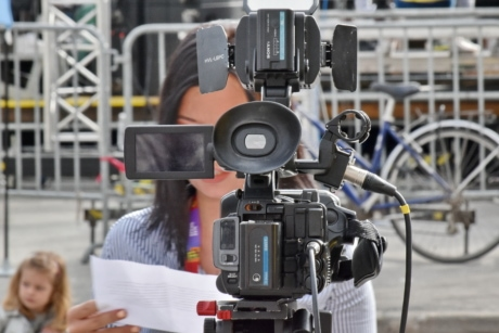 camcorder, camera, journalism, journalist, television, television news, video recording, equipment, lens, tripod