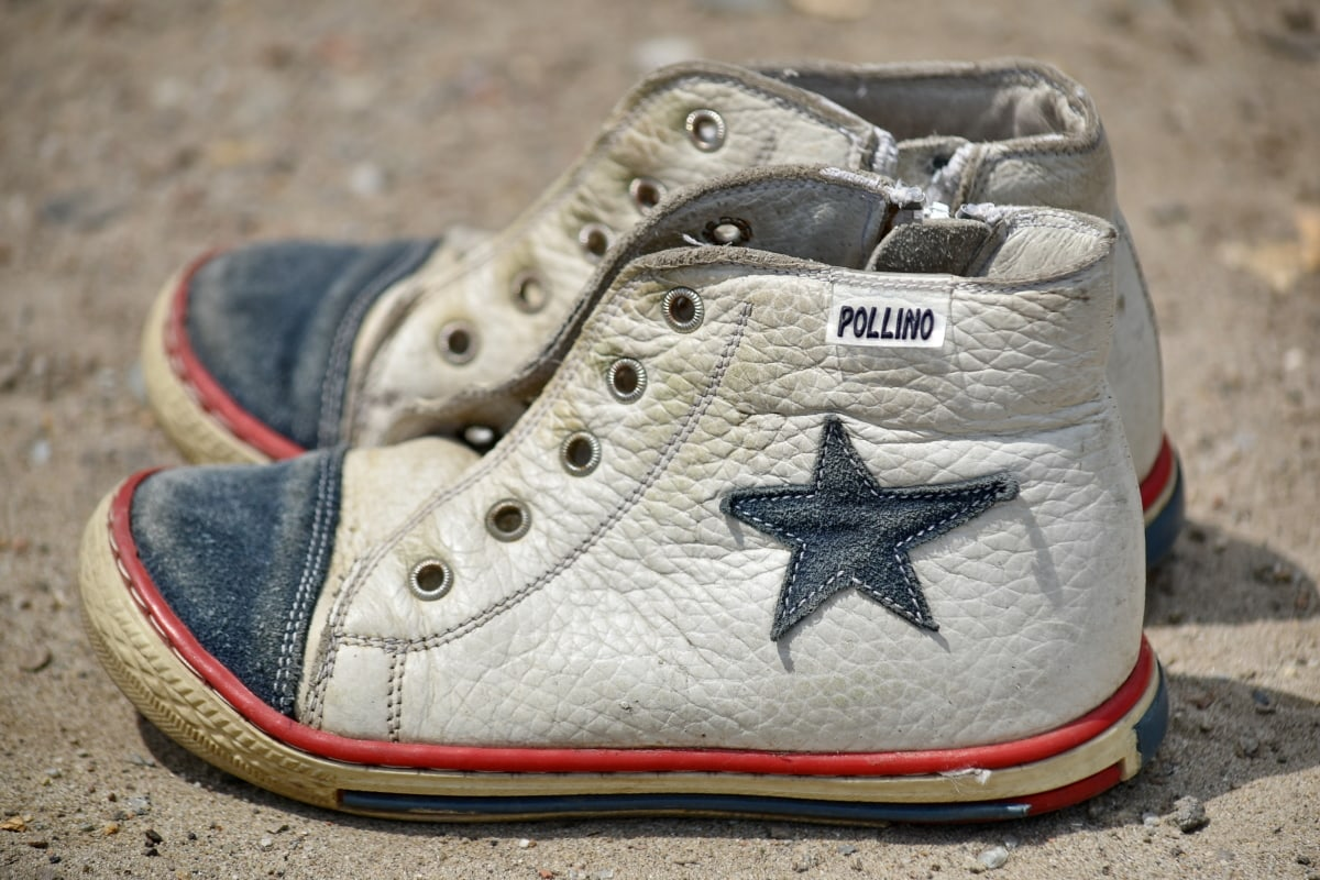 dirty, old, old fashioned, sneakers, footwear, fashion, leather, classic, shoes, pair
