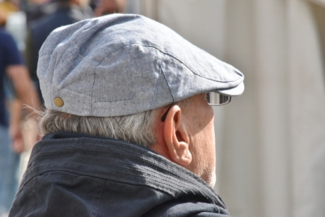 hat, man, people, outdoors, street, portrait, urban, elderly, city, daylight