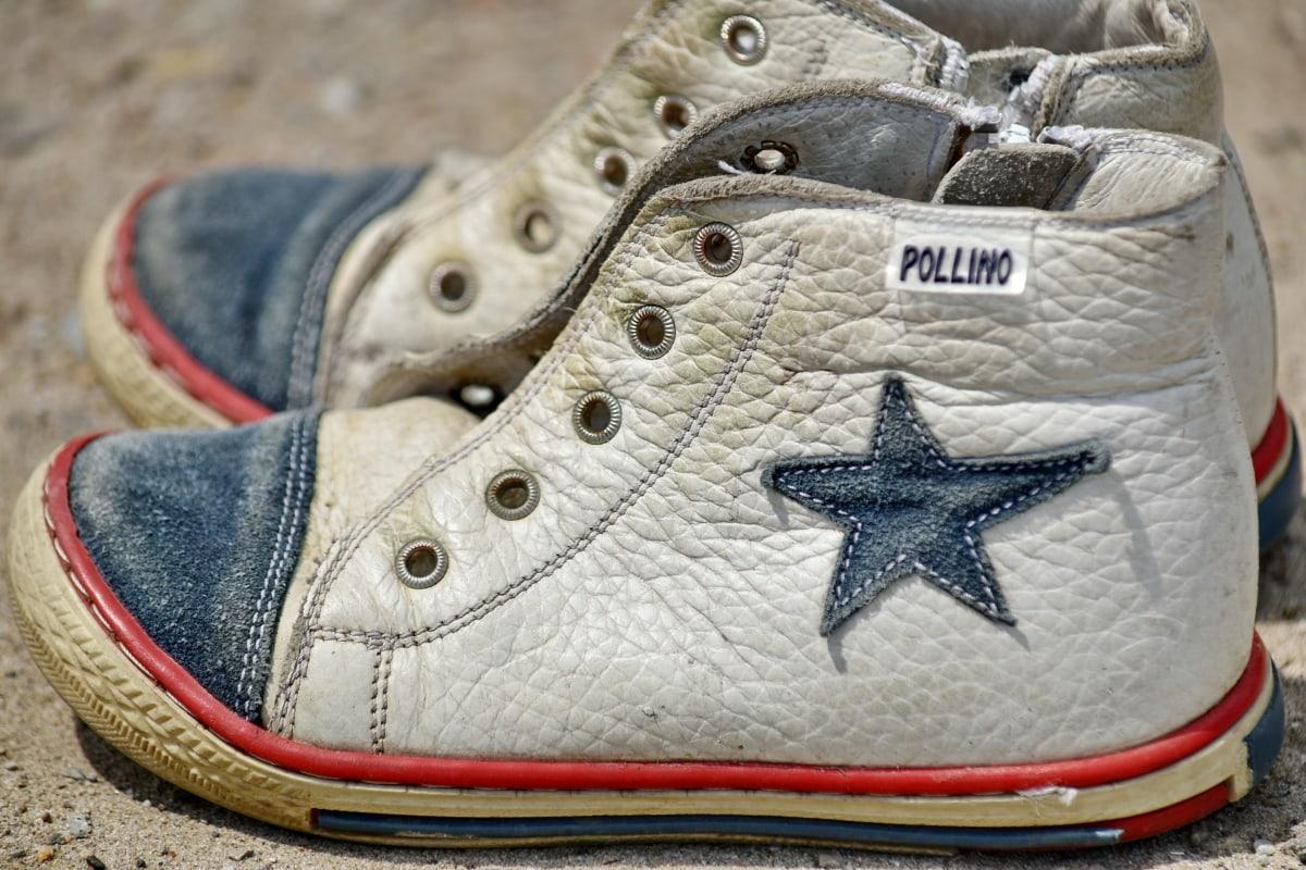 yksityiskohta, lenkkarit, muoti, kengät, jalkineet, nahka, vanha, suunnittelu, klassikko, tyyli