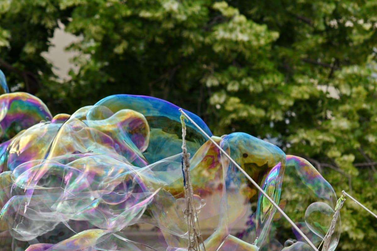 거품, soap, 투명 한, 색, 아름 다운, 공원, 밝은, 재미, 야외에서, 여름
