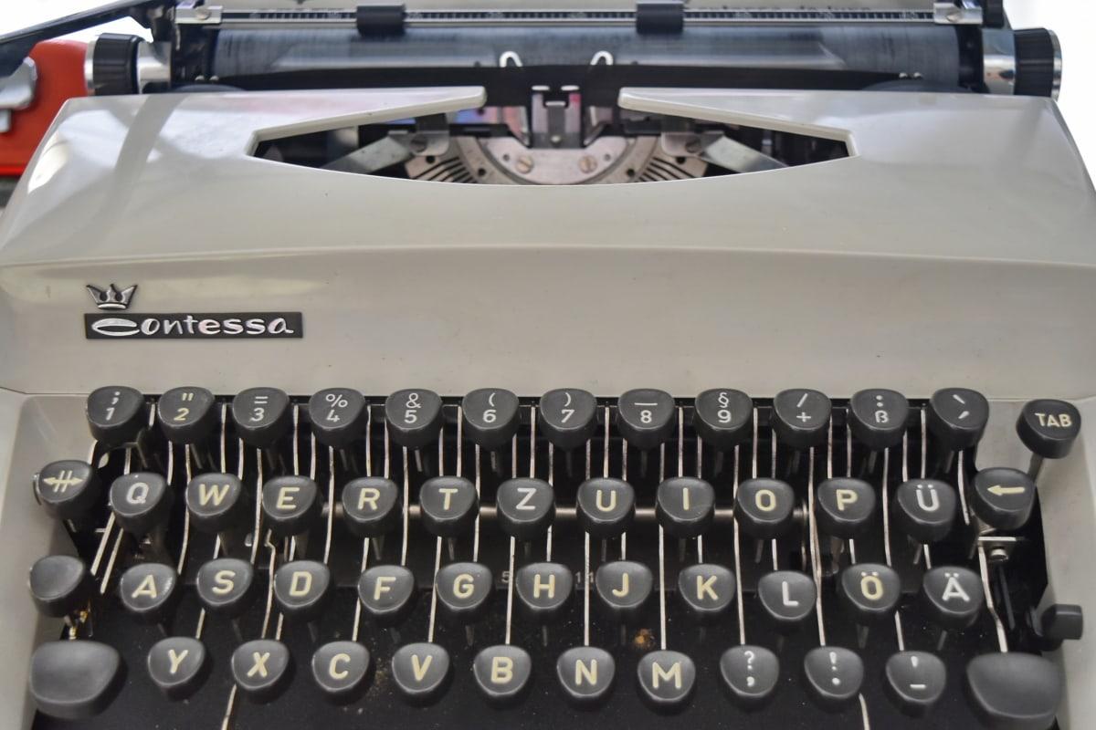 skrivmaskin, utrustning, maskiner, typ, alfabetet, teknik, bärbar, nostalgi, företag, retro