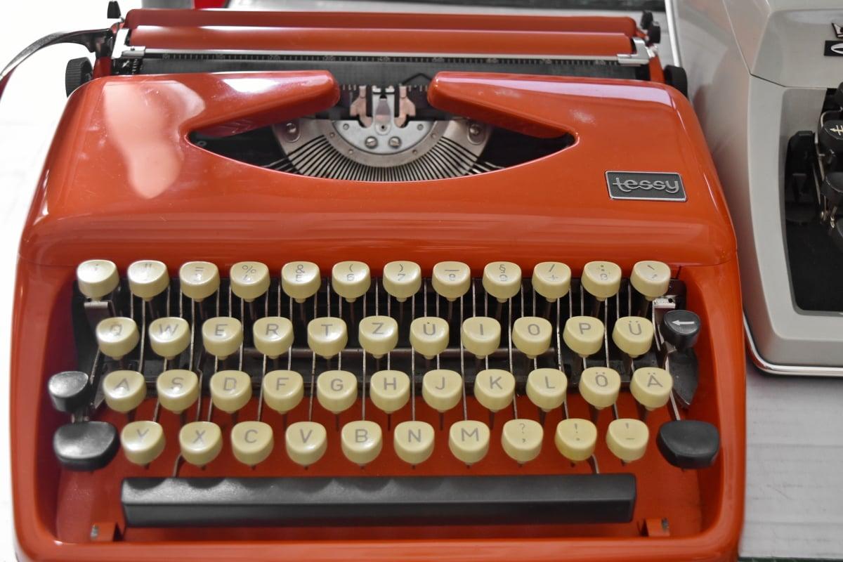 Museum, nostalgi, objektet, bærbar, tastatur, skrivemaskin, teknologi, utstyr, antikk, gamle