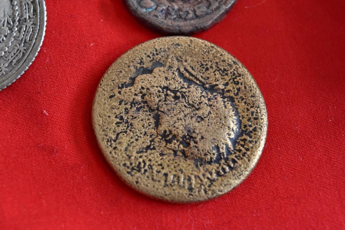 thời cổ đại, tiền xu, lịch sử, kim loại, cũ, màu nâu, trong nhà, vòng, chiếu sáng, kết cấu