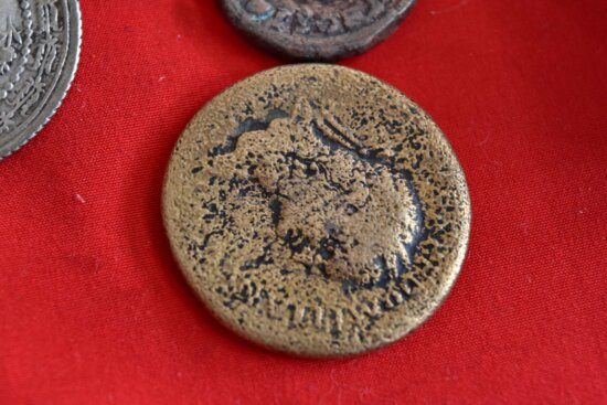 antiquity, coins, history, metal, old, brown, indoors, round, shining, texture