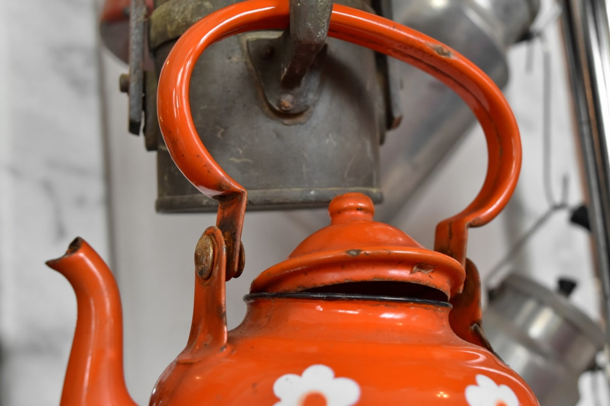 vannkoker, tekanne, keramikk, antikk, tradisjonelle, koking, gamle, stål, jern, klassisk