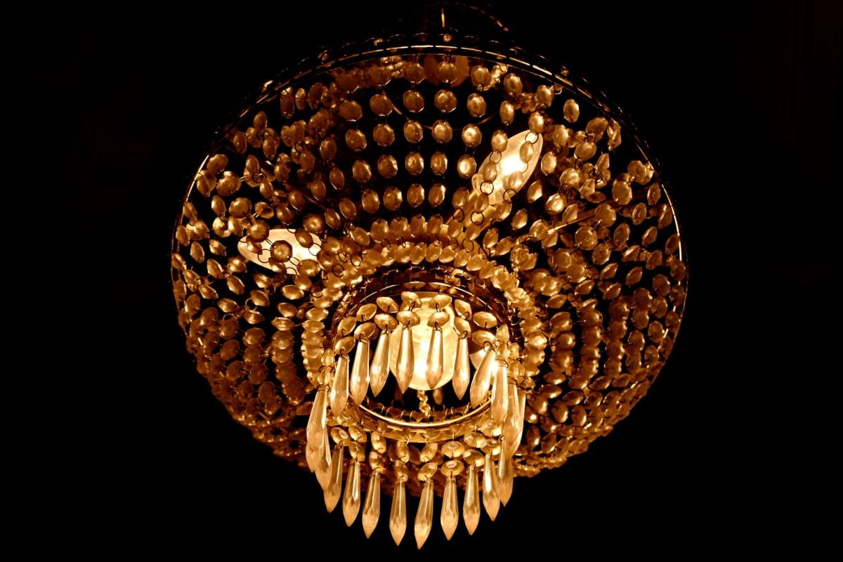 คริสตัล, ไฟส่องสว่าง, โคมไฟระย้า, ศิลปะ, สีเข้ม, แบบดั้งเดิม, ตกแต่ง, การออกแบบ, ส่องแสง, โคมไฟ