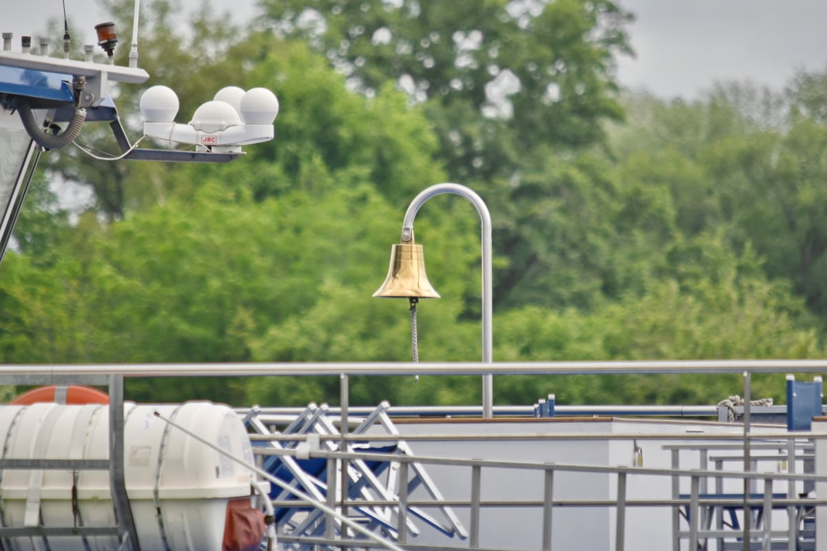 Glocke, Messing, Kreuzfahrtschiff, im freien, Technologie, Ausrüstung, Struktur, Branche, Stahl, Wolke