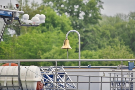 bell, brass, cruise ship, outdoors, technology, equipment, tree, industry, steel, cloud