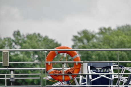 deck, fence, ship, equipment, life preserver, float, outdoors, summer, safety, emergency