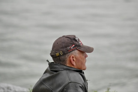 hat, side view, water, man, nature, beach, river, people, portrait, outdoors