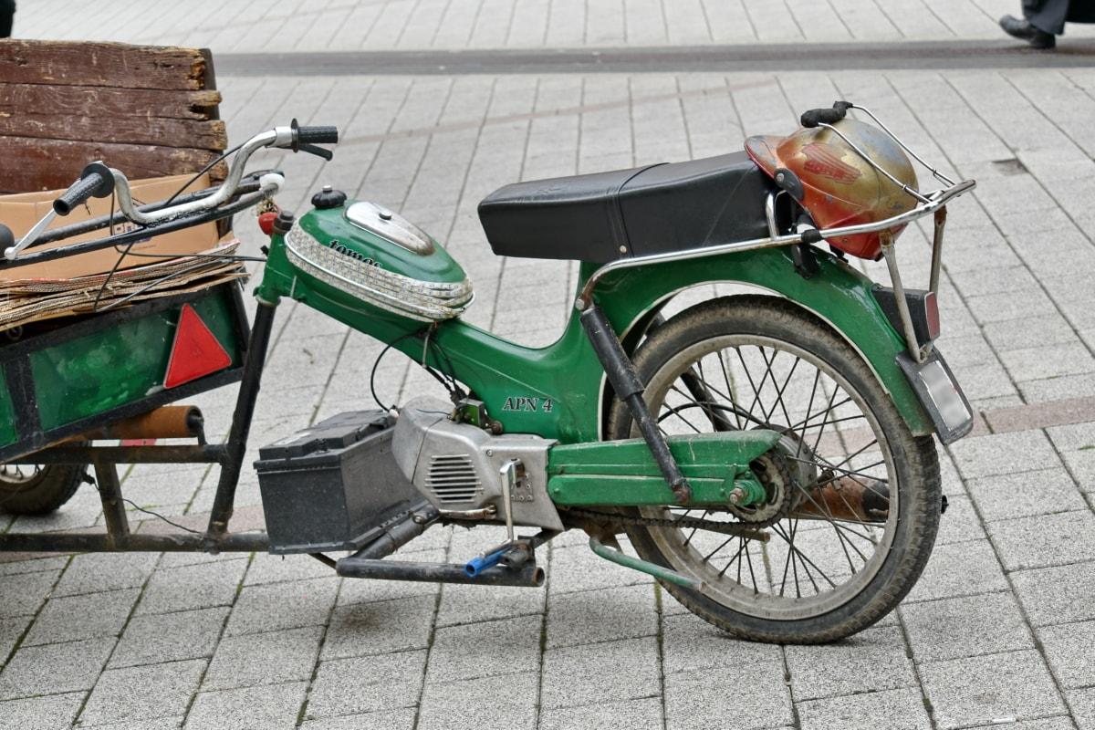 cart, vehicle, street, wheel, moped, motorcycle, vintage, road, old, city