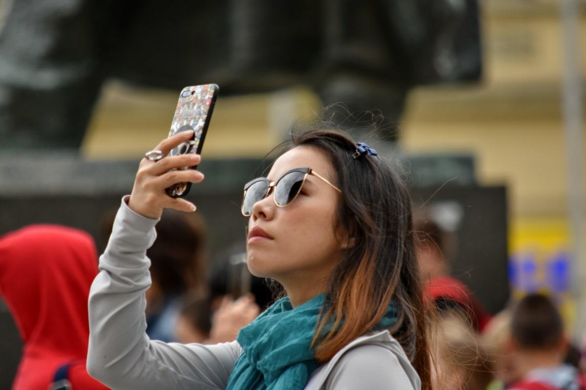 핸드폰, 사진 작가, 사진, 예쁜 소녀, 관광, 사람, 여자, 사람들, 거리, 전화