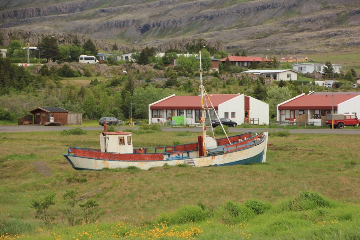 barco de pesca, barco, casa, paisagem, grama, natureza, Verão, ao ar livre, artesanato, casa de barcos