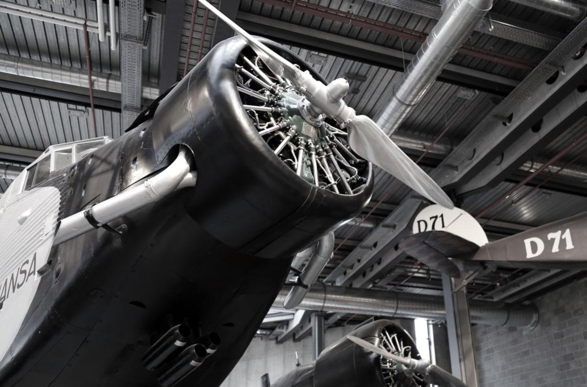 letadla, letecký motor, černá a bílá, muzeum, vrtule, ocel, průmyslové, inženýrství, mechanismus, kov