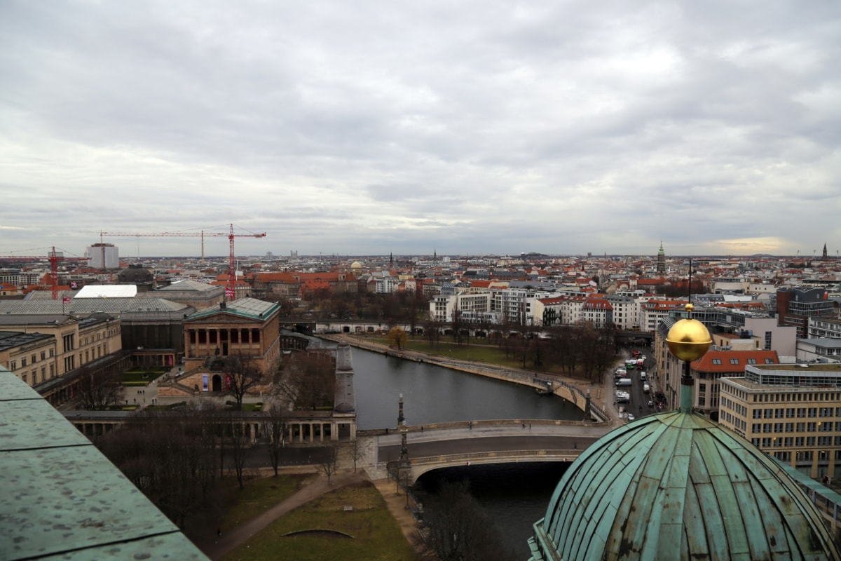 germany, panorama, water, architecture, city, building, dome, river, promenade, cargo ship