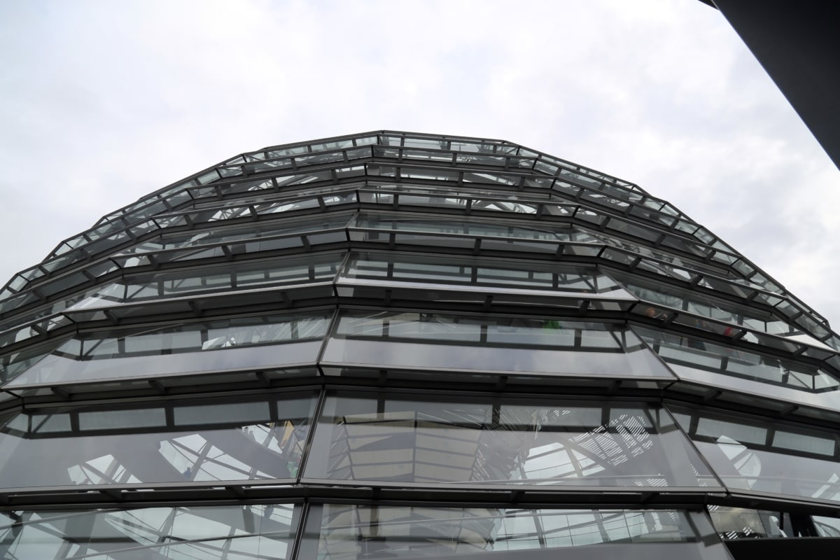 angle, berlin, building, futuristic, germany, glass, perspective, skyline, skyscraper, stainless steel